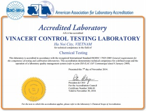 VinaCert đạt chứng chỉ công nhận quốc tế: ISO/IEC 17025:2005 của A2LA (Mỹ) cho lĩnh vực thử nghiệm