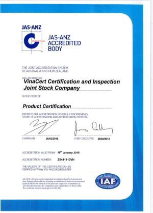 VinaCert đạt chứng chỉ công nhận quốc tế: ISO/IEC 17065:2012, ISO/IEC 17021:2011, ISO/TS 22003:2007 của JAS-ANZ (Australia, New Zealand) cho lĩnh vực chứng nhận